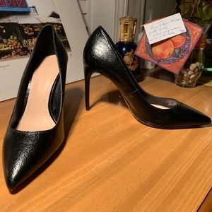 Zara Pointy Pumps (Patent, Textured Black Leather)